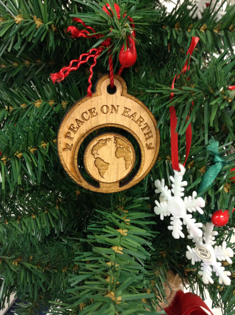 Peace On Earth Wood Christmas Ornament