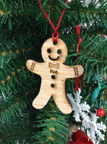 Gingerbread Boy Wood Christmas Ornament