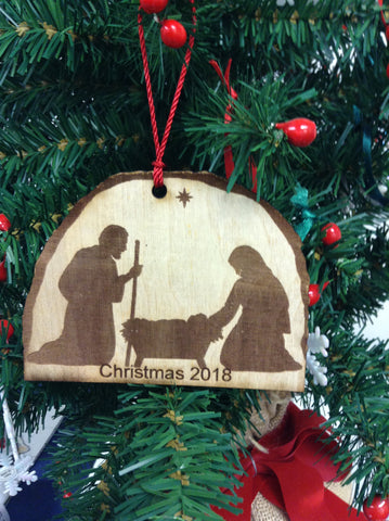 Nativity flat silhouette Christmas Ornament