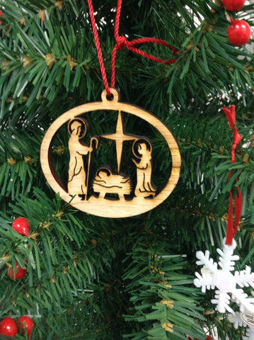 Nativity  Wood Christmas Ornament