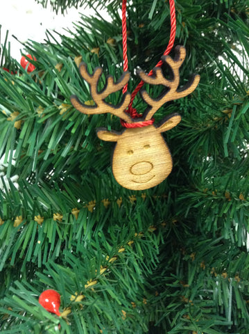 Reindeer Wood Christmas Ornament