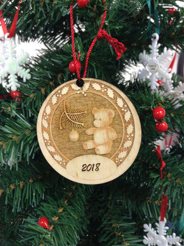 "3D Personalize Bear 3"" Wooden Christmas Ornament"