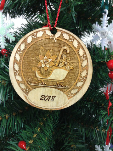 "3D Personalize Sleigh 3"" Wooden Christmas Ornament"