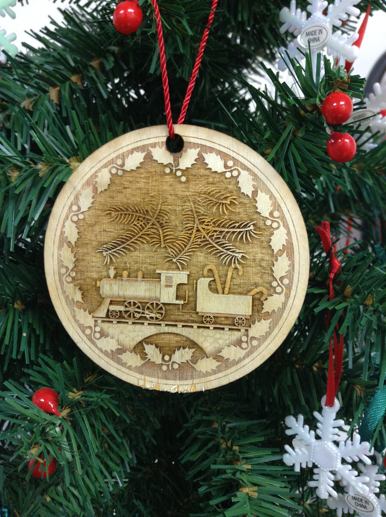"3D Train 3"" Wooden Christmas Ornament"