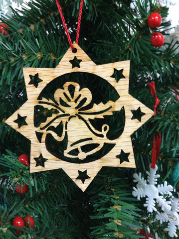 Bell in Star Wooden Christmas Ornament