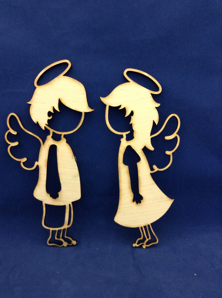 "Set of 10"" Boy and Girl Wooden Angels"