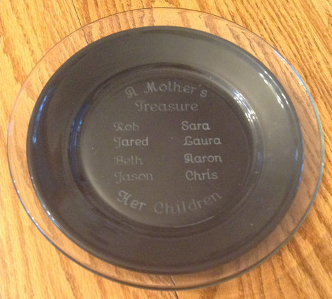 "A Mother's Treasure Clear Glass 10"" Engraved Plate"