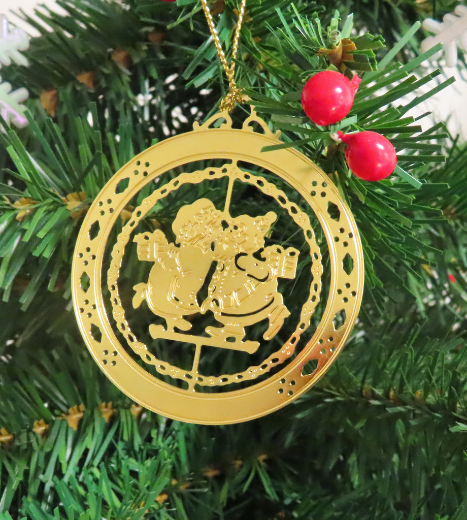 Personalized Mr. & Mrs. Clause High Polished Brass Custom Christmas Ornament
