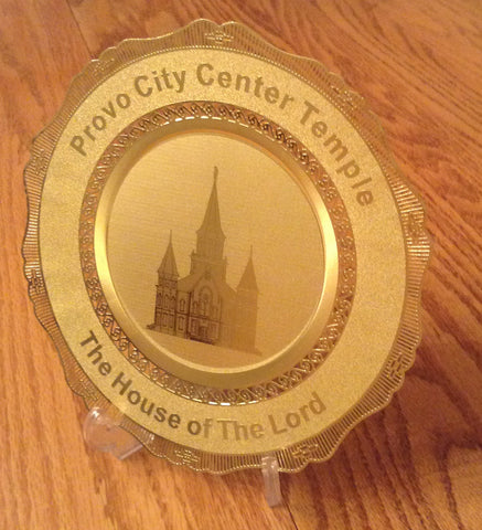 Polished Brass Engraved Plate Provo City Center Temple