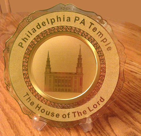 Polished Brass Engraved Plate Philadelphia PA Temple