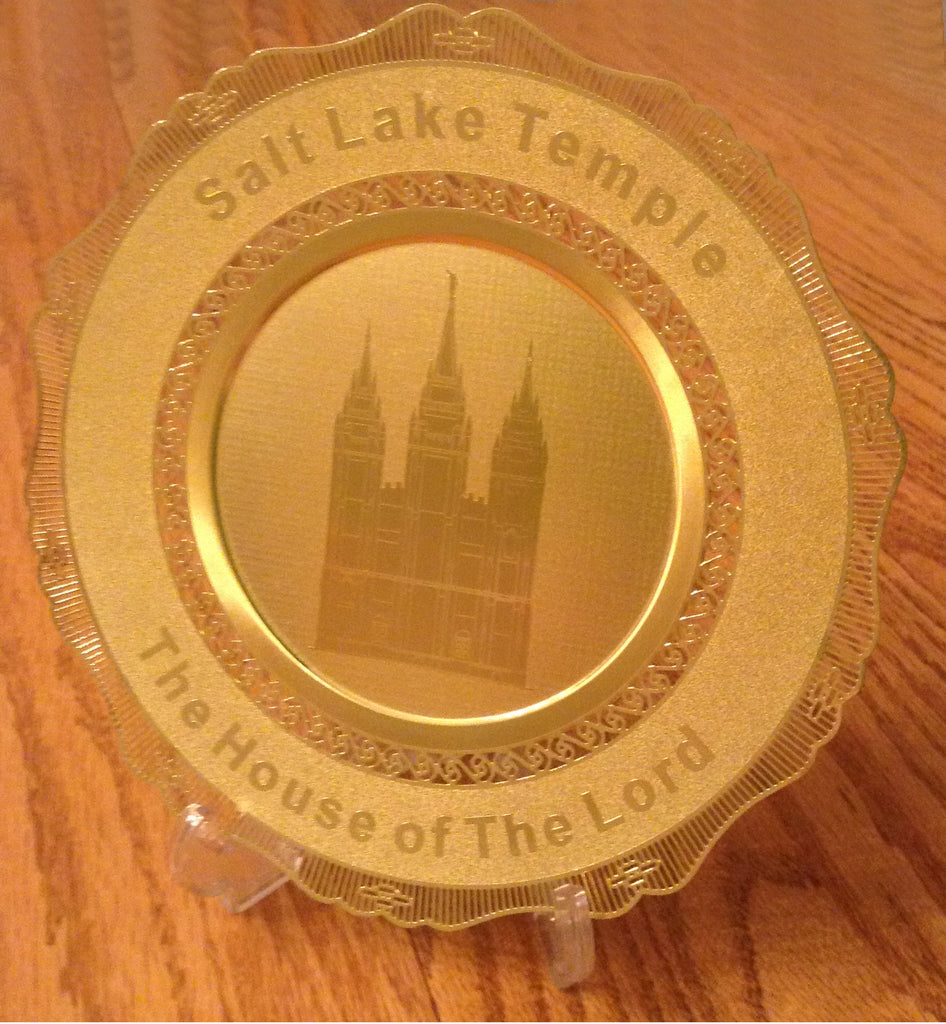 Polished Brass Engraved Plate Salt Lake City Temple