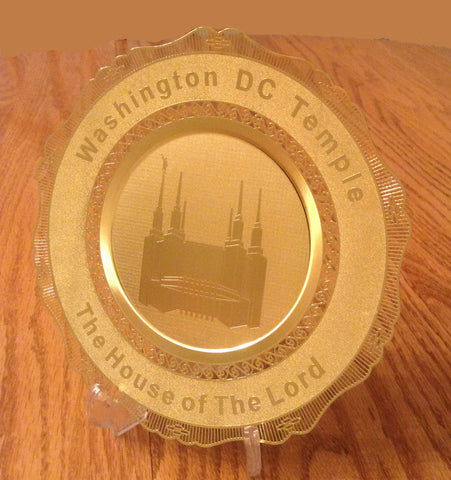 Polished Brass Engraved Plate Washington DC Temple