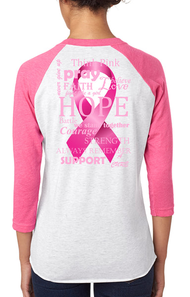 Breast Cancer Awareness Tirblend™ 4.3 oz., 3/4 Raglan Sleeve T-Shirt Pink/Heather White