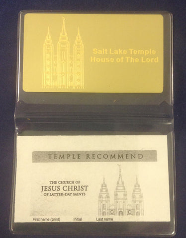 Brass Engraved Temple Recommend Holder Salt Lake City