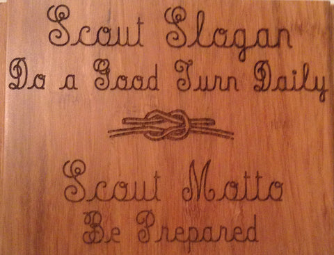 Boy Scout Wood Plaque Motto & Slogan