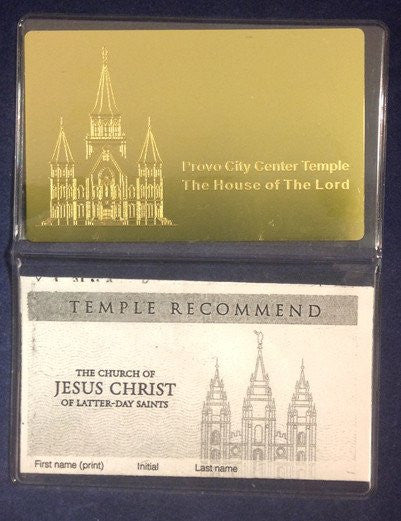Brass Engraved Temple Recommend Holder Oquirrh Mt Utah