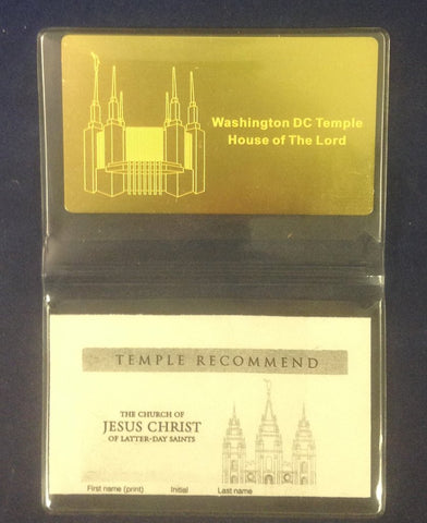 Brass Engraved Temple Recommend Holder Washington DC