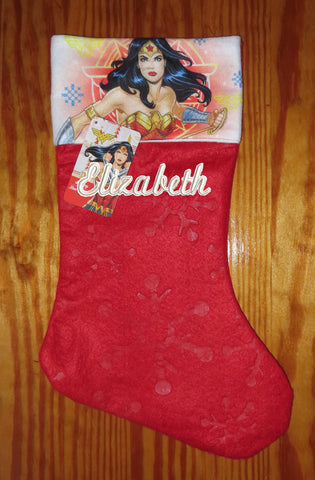 Personalized Christmas Stocking Wonder Women