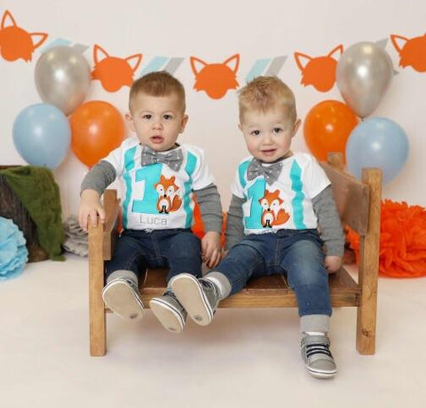 fox theme 1st birthday outfit - fox first birthday - birthday outfits for twins - custom 1st birthday outfits
