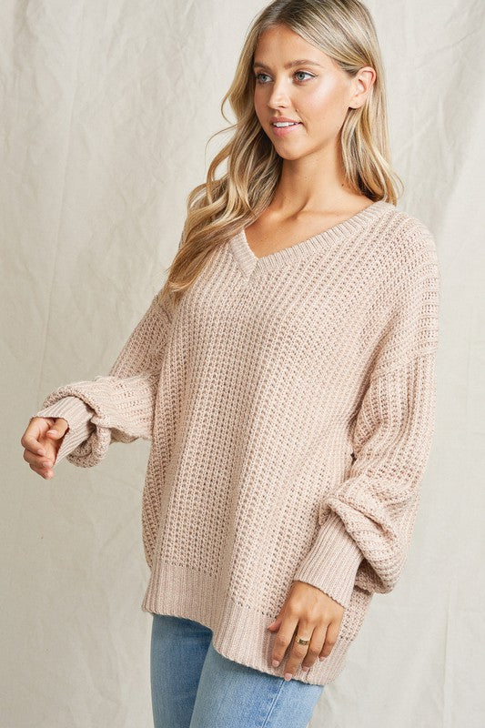 Oatmeal V neck ribbed sweater