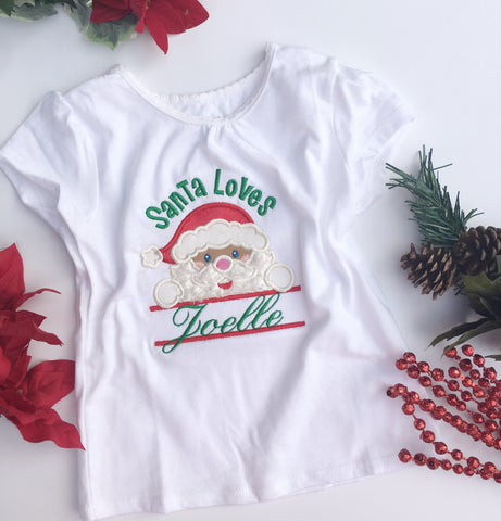 Santa Loves ____ Personalized Christmas shirt - My Three Little Hearts