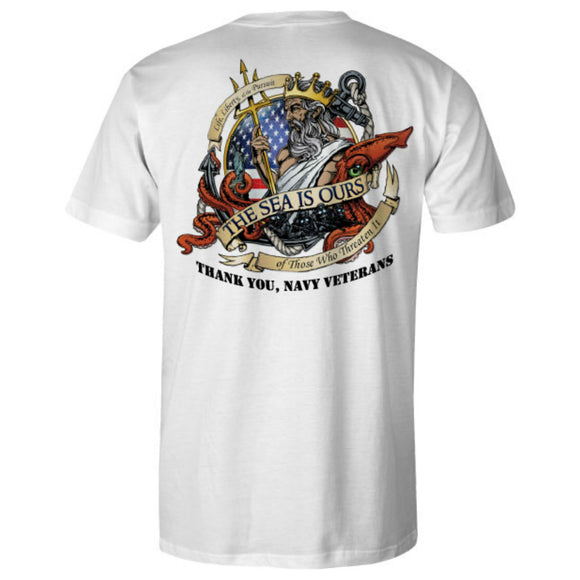 Navy Patriot Ride White Tee