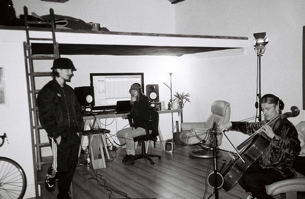 Henry, Joe and Luke in the finished Studio