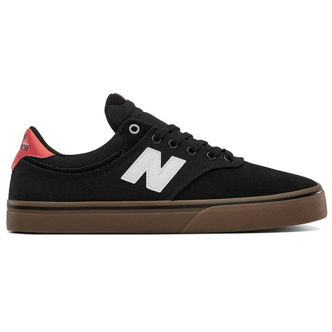 Buy New Balance Numeric 255 Shoe Black/Red/White. One piece toe box. Suede, Canvas mesh mixed uppers. Gum Vulcanized sole. See more Nb#? Fast Free Delivery and shipping options. Buy now pay later with Klarna or ClearPay payment plans at checkout. Tuesdays Skateshop, Greater Manchester, Bolton, UK.