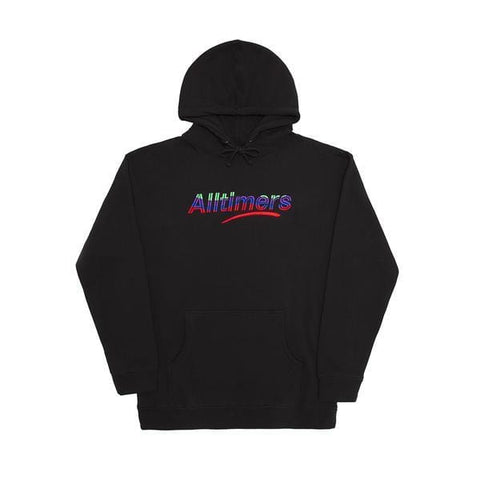 Buy Alltimers Embroidered Wave Hood Black. Heavy cotton construct with a drawstring adjustable hood. Kangaroo pouch.  Fast Free Delivery options, 5 star trusted customer reviews, secure checkout and buy now pay later options with Klarna and ClearPay. Drop us a message at Tuesdays Skateshop for further help.