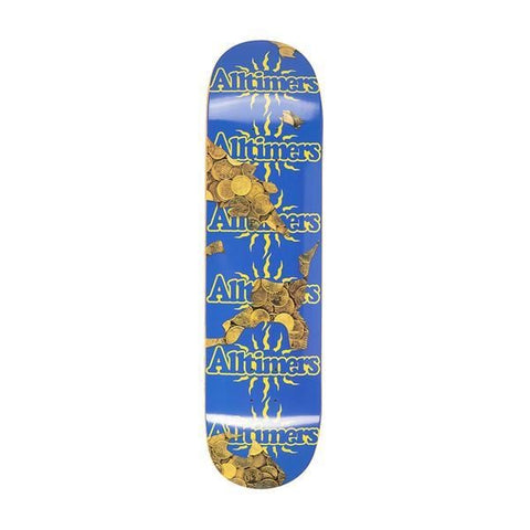 "Buy  Alltimers Coins Vacation Skateboard Deck 8.1"",All decks are sold with free Jessup grip tape, please specify in the notes if you would like it applied or not. For further information on any of our products please feel free to message. Fast Free Delivery and Shipping. Buy now pay later with Klarna and ClearPay payment plans. Tuesdays Skateshop, UK."