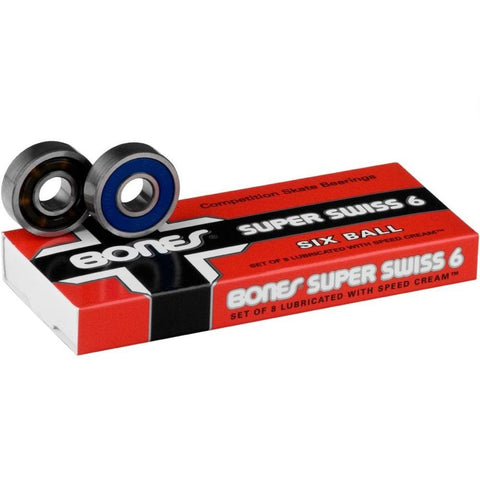 Buy Bones Swiss Super 6 Ball Bearings (Set of 8) Competition Skate bearings crafted in Switzerland. Removable high speed nylon ball cage. Pack of 8 Bearings Precision skate bearings Removable Non contact, friction-less rubber shield. Pre lubricated with a low velocity bones speed cream Long lasting & easy to clean A personal favourite. Fast Free UK delivery, worldwide shipping.