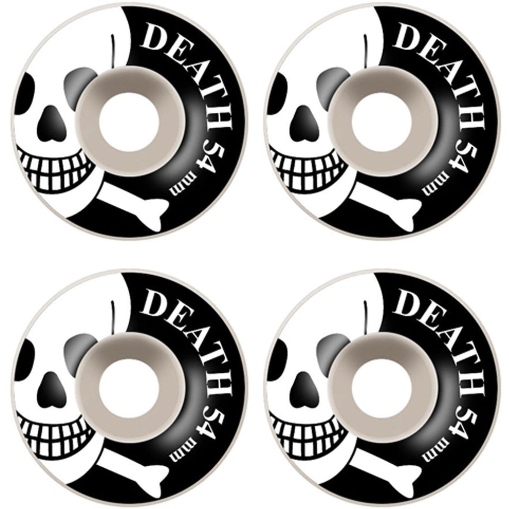 Buy Death Skateboards Skull Wheels. 54 MM 100 DU. Round. You get 4. Flat spot resistant. Tried and Tested by PROFFESIONALS. For further information please feel free to message via the on platform chat option. We only stock the best. See more Wheels? Fast Free UK/EU Delivery Options, Worldwide Shipping. Tuesdays Skate Shop Bolton UK.