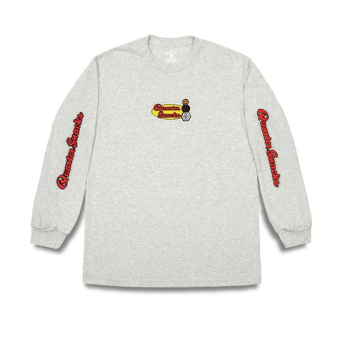 Buy Quartersnacks Middle School Longsleeve T-Shirt Ash Grey. 100% Soft cotton construct. Front and Back print detailing. For further information on any of our products please feel free to message. See more Quartersnacks? Fast Free UK Delivery, Worldwide Shipping. Skateboarding L/S Tee's at Tuesdays Skate Shop | UK. Fast Free Delivery and Shipping. Buy Now pay later with Klarna and clearpay, payment plans.