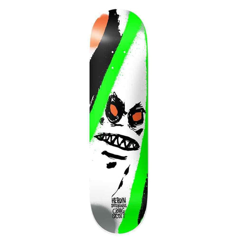 "Buy Heroin Skateboards Craig Questions Scott 'Call of the Wild' Skateboard Deck 9"" Wheelbase - 14.25"" All decks come with free Jessup grip, please specify in notes (at checkout) if you would like it applied or not. For further information on any of our products please feel free to message. Fast free UK Delivery, Worldwide Shipping."