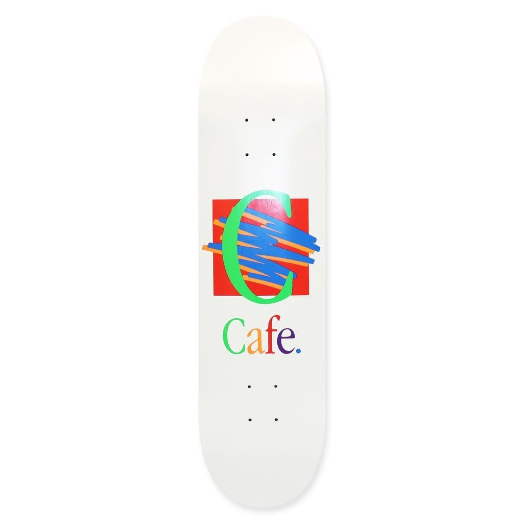 "Buy Skateboard Cafe Ronald White Skateboard Deck 8.5"" All decks come with free jessup grip and next day delivery, please specify in notes if you would like grip applied or not. Browse all decks 