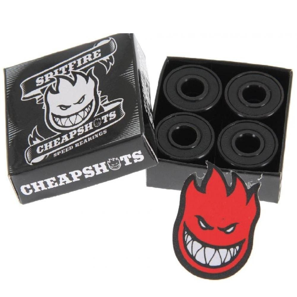 Buy Spitfire Cheapshots Bearings. Pack of 8 bearings Smooth, fast & easy to clean Engraved bearing shields Big head sticker included. Email us as contact@tuesdaysskateshop.co.uk | Fast Free Next Day Delivery and shipping options available. Buy now pay Later with Karna and ClearPay payment plans at checkout. Tuesdays Skateshop, Greater Manchester, Bolton, UK.