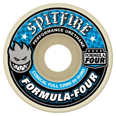 Buy Spitfire Formula Four Conical Full Wheels Natural 53 mm 99 DU Flat spot resistant, formulated for a harder faster ride. 99 DURO 53 mm For further information on any of our products please feel free to message. Best for Skateboarding wheels, Greater Manchester, UK. Buy now pay later Payment plans with Klarna and ClearPay. Fast Free delivery and Shipping options.
