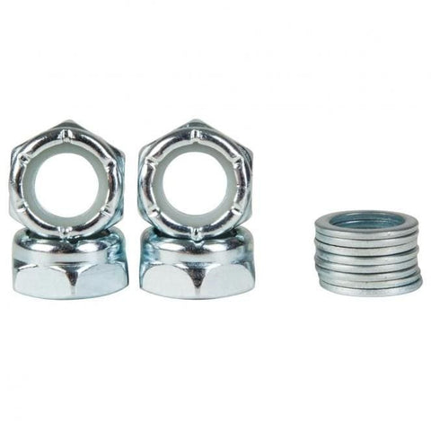 Replacement Axle Nuts & Washers Set of 4 Nuts Set of 8 speed Washers Silver All axle nuts are universal and will fit all skateboard trucks. For further information on any of our products please feel free to message. truxs trux truks trucs truck bolts truck replacement bolt nuts bolt axle nut axle bolt axle free fast delivery shipping uk