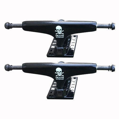 "Buy Film Trucks X Death Skateboards Black Trucks 5.25"" (PAIR) Glow in the dark. Suitable for decks 7.8"" - 8.25"" See below for detailed sizing chart. See more?  Fast free UK delivery, Worldwide shipping. Tuesdays Skate Shop UK. Best for Skateboard Trucks at Tuesdays Skateshop, Buy now pay later with Klarna & ClearPay."