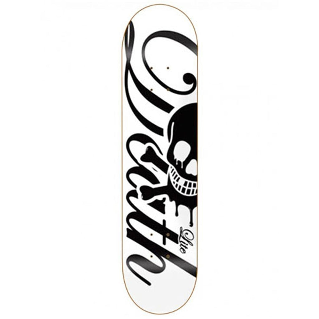 "Buy Death Skateboards Script 'Lite' Skateboard Deck White 7.75"" Mid Concave. Top ply stains vary. All decks come with free Jessup grip tape, please specify in notes if you would like it applied or not. See more Decks? Fast Free UK & Europe Delivery options, Worldwide Shipping. #1 UK Stockist."