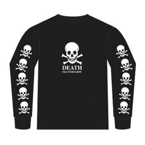 Buy Death Skateboards OG Skull Longsleeve T-Shirt Black. 100% Cotton construct. OG Skull logo central on chests with full Printed skull sleeves. See more Longsleeve Tees? Skateboarding L/S Tees. Fast free delivery and shipping available. Buy now pay later with Klarna and ClearPay payment plans at checkout. Tuesdays Skateshop. Greater Manchester, Bolton. UK.