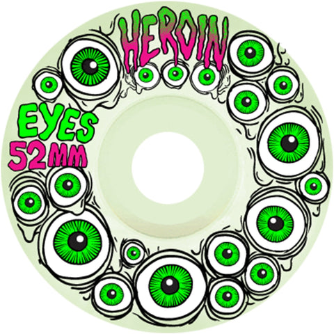 Buy Heroin Skateboards Eyes Wheels (Glow in the Dark) 52 MM 101A Duro See more Wheels? Skateboarding Wheels. Fast Free UK Delivery, Worldwide Shippng.