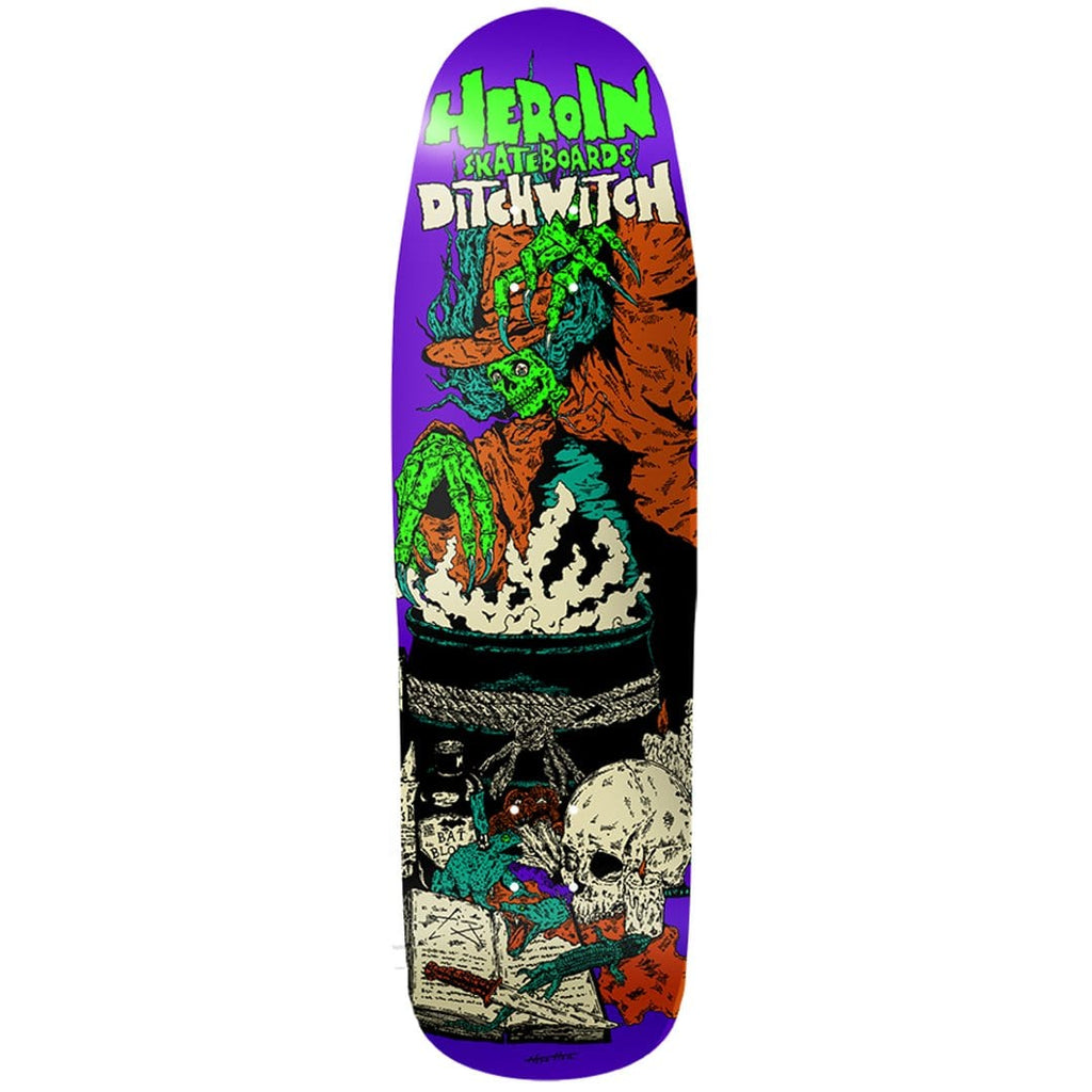 "Buy Heroin Skateboards 'Ditch Witch 4' Razortop Skateboard Deck 9.38"" Wheelbase - 14.25"" All decks come with free Jessup grip, please specify in notes (at checkout) if you would like it applied or not. For further information on any of our products please feel free to message. Fast free UK Delivery, Worldwide Shipping."
