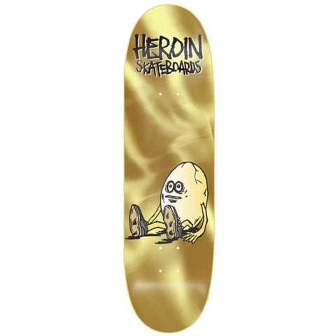 "Buy Heroin Skateboards 'Golden Egg' Skateboard Deck 9.125""  X 32"" Wheelbase - 14.25"" All decks come with free Jessup grip, please specify in notes (at checkout) if you would like it applied or not. For further information on any of our products please feel free to message. Fast free UK Delivery, Worldwide Shipping."