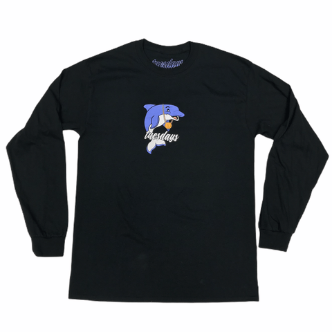 Buy Tuesdays 'Dolphin Boy' L/S T-Shirt Black. 100% soft cotton construct. 3 Colour screen print central on chest. Regular Cut. Creative director ; Jack Gittins. See more Tees? Fast Free UK & Europe Delivery options, Worldwide Shipping. Buy now Pay later with Clearpay & Klarna. Tuesdays Skate Shop 32 GBP. Skateboarding Longsleeve T-Shirts.