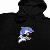 Buy Tuesdays 'Dolphin Boy' Hood Black. 100%mHeavy cotton construct. 3 Colour screen print central on chest. Regular Cut. Chunky drawstring adjustable Hood w/ Kangaroo pouch pocket. Creative director ; Jack Gittins. Fast Free UK/Europe Delivery/Shipping Options. Buy now pay later with Klarna & Clearpay. Tuesdays Skateshop. Bolton Greater Manchester | UK.