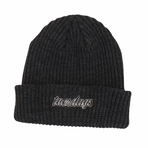 Buy Tuesdays Script Ribbed Beanie Charcoal. Script embroidered detailing. 100% Turbo acrylic. One size fits all, flexi fit. See more Beanies? See more Tuesdays? Fast Free delivery and shipping options. Buy now pay later with Klarna and ClearPay payment plans at checkout. Tuesdays Skateshop. Bolton, Greater Manchester UK.