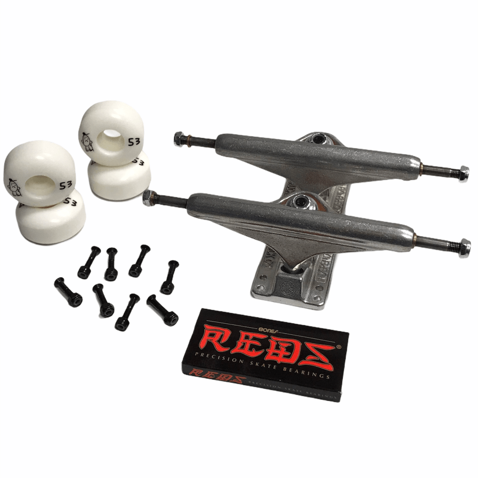 "Buy Get rolling with everything you need but the Deck Independent Stage 11 Undercarriage Complete Kit (159 MM). Suitable for decks 8.6"" - 8.9"" Independent Stage 11 Raw trucks 159 MM. Shop Brand 54 MM Wheels 99 DU. Bones Reds Bearings. Allen head Bolts. Fast Free next day delivery and shipping options. Buy now Pay later with Klarna and ClearPay at checkout, Payment plans. Tuesdays Bolton, UK."