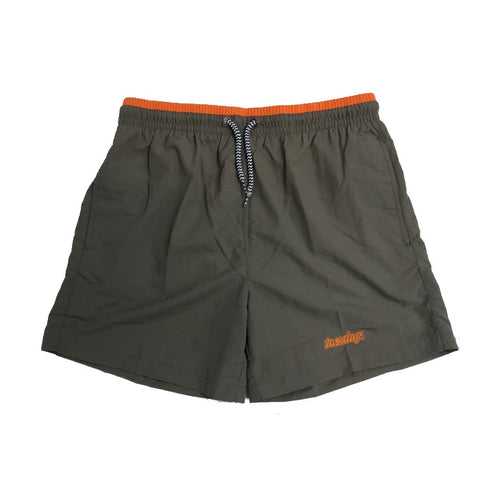 Buy Tuesdays Icon Swim Shorts Mid Grey/Safety Orange. Black on Black embroidered Script detailing on left leg. Drawstring adjustable elasticated waistband. Mesh Lined, Trunks style. Slit Side pockets w/ Flat back pocket (Velcro closure). Fast free UK delivery available, Free European shipping available. Worldwide Shipping. Skateboarding Shorts.