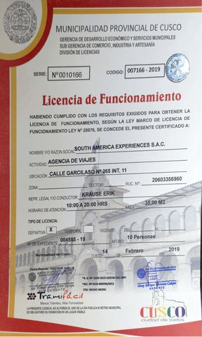 Business License Exploor Peru